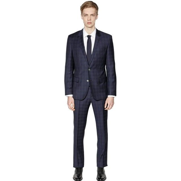 Hugo Boss Men Check Super 130's Wool Suit ($955) ❤ liked on Polyvore featuring men's fashion, men's clothing, men's suits, navy, mens slim fit suits, mens checked suits, mens suits, mens navy suit and mens wool suits