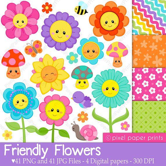 Friendly Flowers - Digital paper and clip art set - Flower clipart