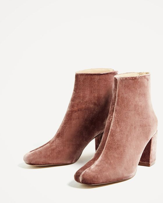 Image 4 of HIGH HEEL VELVET ANKLE BOOTS from Zara