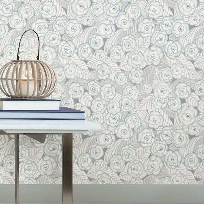 Nuwallpaper 30 75 Sq Ft Grey Vinyl Floral Self Adhesive Peel And Stick Wallpaper Lowes Com Peel And Stick Wallpaper Nuwallpaper Removable Wallpaper