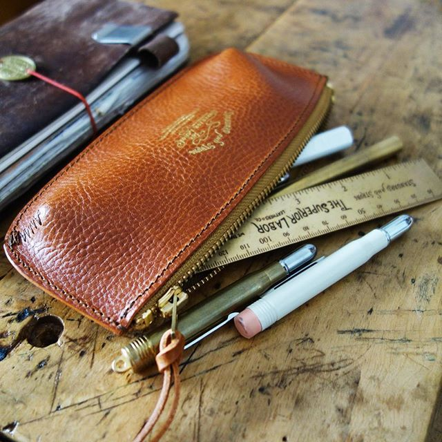 This deliciously textured leather pen case by @the_superiorlabor ... now available in camel and dark brown. @baumkuchen
