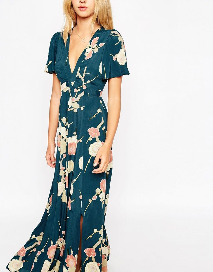 Image 3 of ASOS WEDDING Maxi Dress with Wrap Front in Floral Bloom