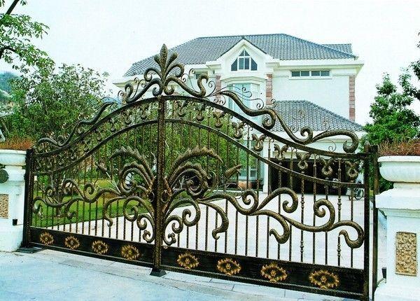 Wrought Iron Main Entrance Dual Swing Gate Luxury Garden Driveway Iron Gate Puertas De Hierro Puertas Hierro Forjado