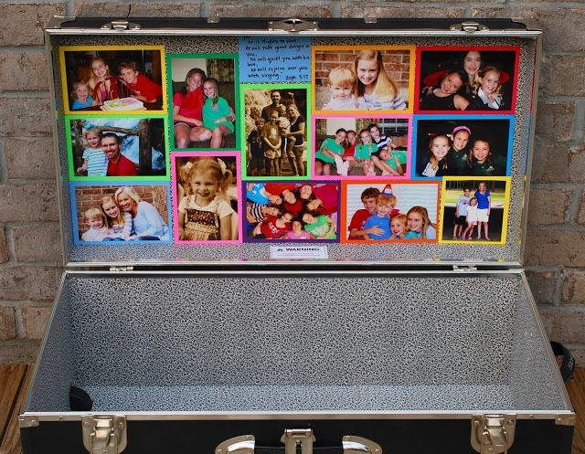 Love this! Decorate your snide lid of camp trunk with photos