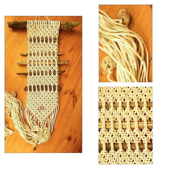 Beach driftwood + rock cotton rope macrame wallhanging. Driftwood 53cm in length. Wallhanging 23cm wide and 170cm in length. #macrame #modernmacrame #macramewallhanging #squareknot #interiordecor #decor #madewithlove #handmade #driftwood #rope #madeinaustralia #wolfandyarzz yarzz