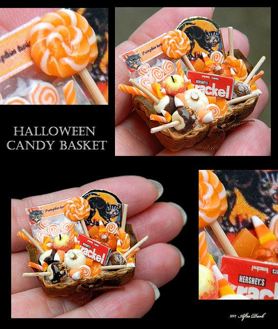 Luxury Halloween Candy Basket - Artisan fully Handmade Miniature in 12th scale. From After Dark miniatures.