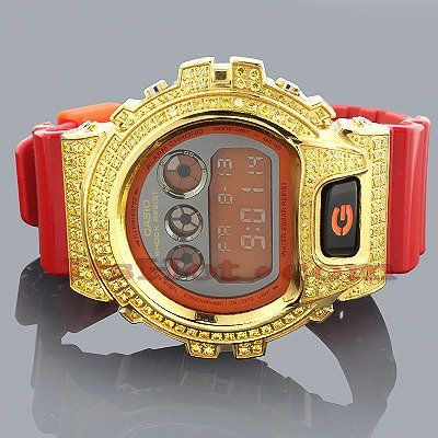 Iced Out G-Shock Watch Yellow CZ Crystals DW6900