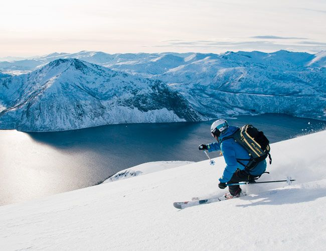 Ski touring in Senja, Norway, means low-angle sea-to-summit approaches, thick mattings of snow, and a landscape of perennial quiet.