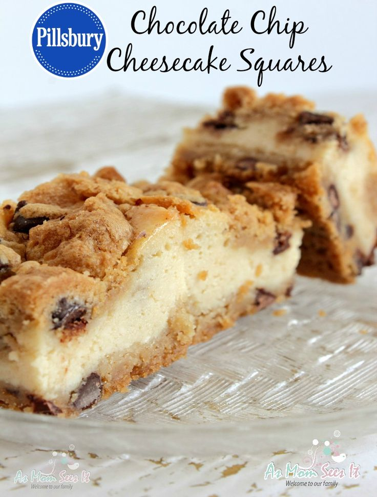 Rich, delicious, and oh-so-decadent! This Pillsbury Chocolate Chip Cheesecake Squares recipe will be a favorite dessert in your house (you may have to hide 'em)