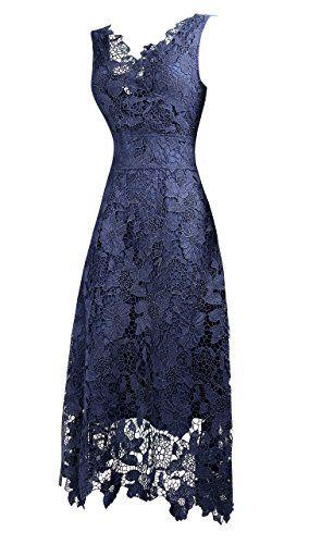 KIMILILY Women's V neck Elegant Floral Lace Swing Bridesmaid Dress at Amazon Women's Clothing store: