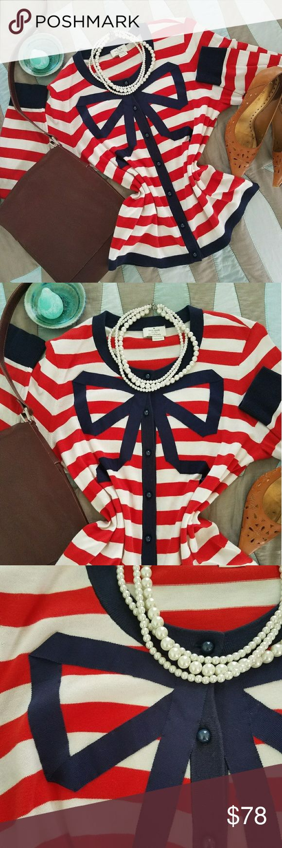 Kate Spade nautical ribbon bow striped cardigan Hard to find Kate Spade New York striped nautical cardigan, bow in front is made of ribbon, so pretty!. Ka cardigan is Button Up Style and is in size large, used in excellent condition, very soft. 100% cotton. Please see measurements in photos. Sweater is classic nautical colors, Navy, white, and red. kate spade Sweaters Cardigans