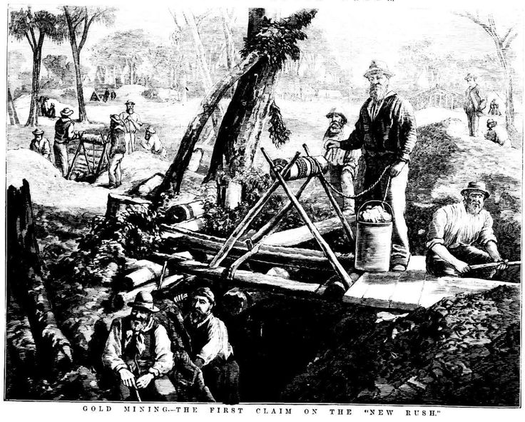 Gold Mining - The First Claim on the New Rush 1876