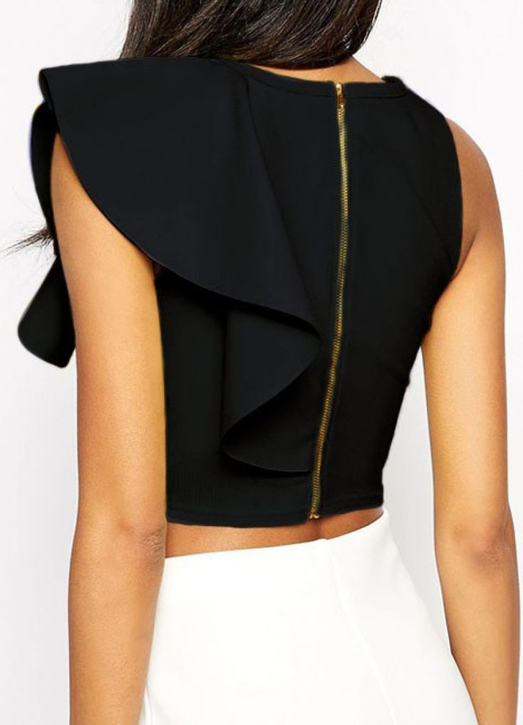 Buy Black Round Neck Ruffle Crop Tank Top from abaday.com, FREE shipping Worldwide - Fashion Clothing, Latest Street Fashion At Abaday.com