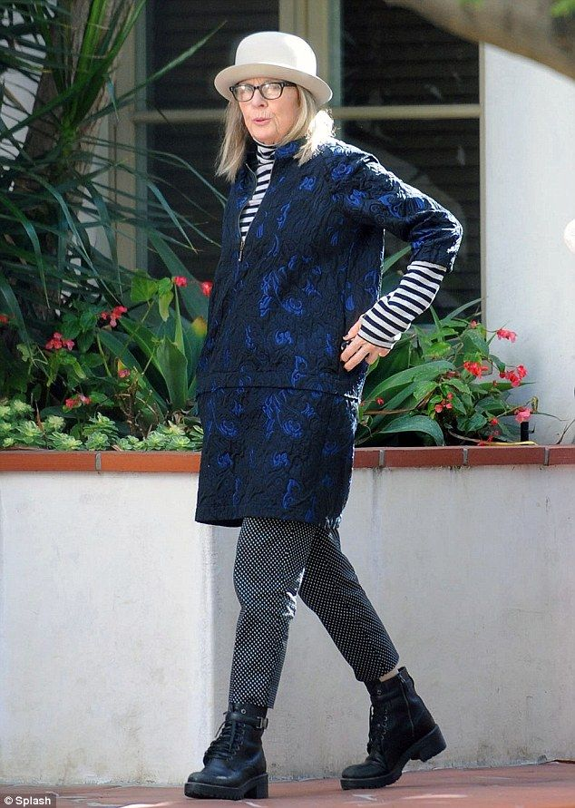Oddball: Diane Keaton was dressed very eccentrically while out apartment hunting in West Hollywood on Sunday - in a variety of mismatched prints