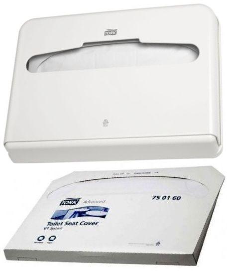 Pachet promotional! Dispenser Tork colaci WC din hartie + Set rezerve acoperitori colac WC Gratis!