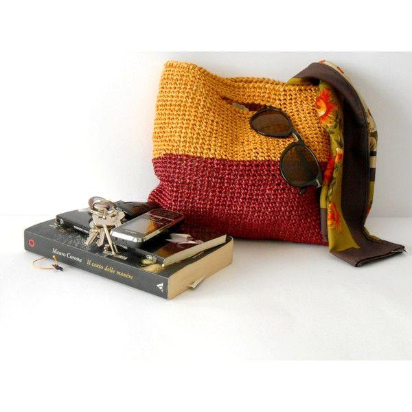 elegant crochet bag, handbag 60s style, crochet purse in raffia, block... (€45) via Polyvore featuring bags, handbags, red evening purse, man bag, hand bags, yellow handbag and summer handbags
