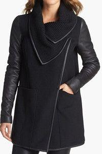 Mackage 'Cornelia' Leather Sleeve Coat