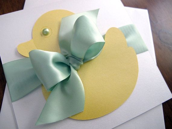 Duck Baby Shower Invitation with Ribbon by 2MonkeysCreations, $6.25