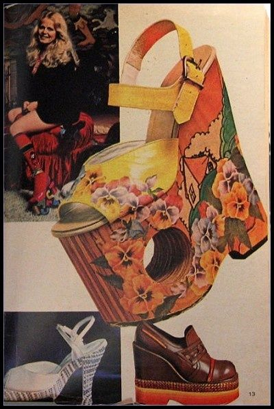 A Skater Girl in the background - A double whammy   (Is that Sally Struthers?)   Fred Slatten collage 70S Platform shoes