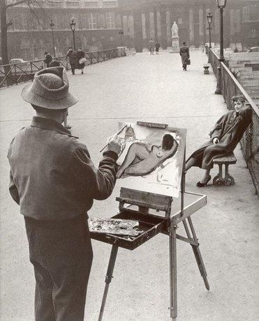 """Robert Doisneau - Le peintre sur le pont des arts"""""""