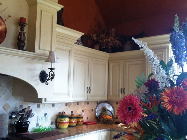 Mediterranean style kitchen cabinets in my mother and Brendan's beautiful house.