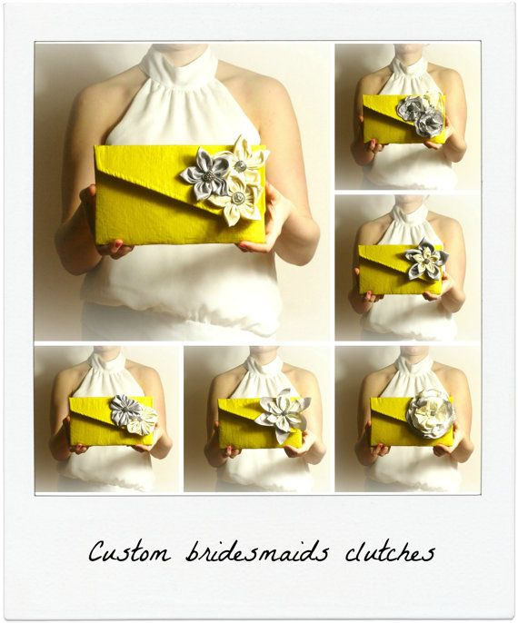 Bridesmaid Clutch set peronalized wedding van meshkadesign op Etsy, $32.00