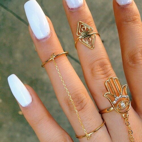Plain White nails with accessories