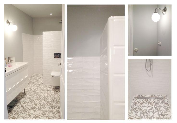 salle de bain carreaux de ciment carreaux de m tro entrelesmurs pinterest. Black Bedroom Furniture Sets. Home Design Ideas
