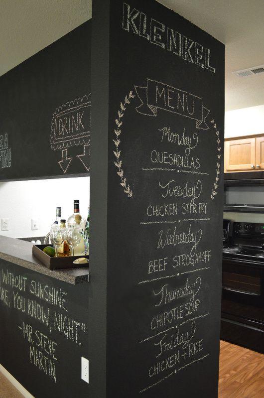 Поверхность для надписей мелом на кухне