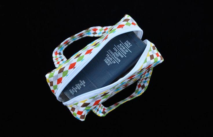 Coloured Diamonds 'McKenzie' Scripture case, handmade scripture case, fabric scripture case, book bag by MayboleandWick on Etsy