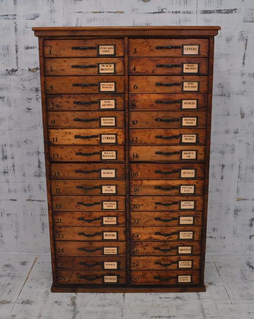 Antique chest drawer: storage for transfers, thread, buttons, trims and laces, knitting needles, crochet hooks.  It's a place to make a treasure hunt