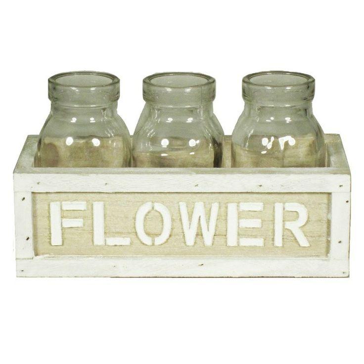 CONJUNTO 3 BOTELLAS CRISTAL+ CAJA MADERA FLOWERS http://www.mundibotellas.es/botellas-vacias-decoracion-vintage/conjunto-botellas-cristal-caja-madera-vintage