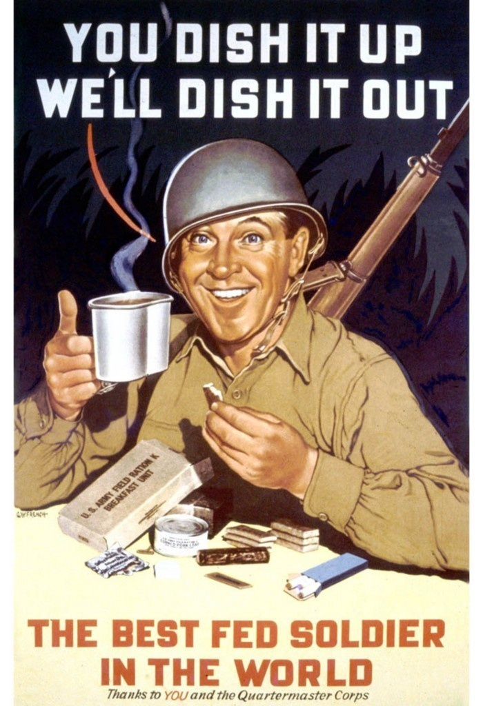 War Bond Poster ~ GI Soldier with his K Rations & Coffee