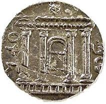 This is a coin from 132. After the defeat of Rome the Jews confiscated all the bronze and silver coins from Rome, Syria, Phoenicia circulating in the new Israel,  The etchings were filed off and re-stamped with Jewish symbols: grapes, menorah, etrog and lulav, trumpets, lyre, grapes with Hebrew inscriptions: Shimon President of Israel, Year One or Two the Redemption of Israel, Of the freedom of Jerusalem. The coin shown depicts a Temple and the inscription Jerusalem.