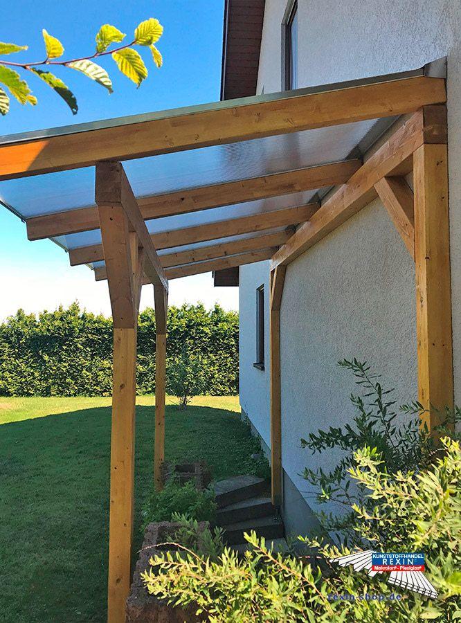 Ein Holz Terrassendach Der Marke Rexocomplete 4m X 2m Mit Transparenten Rexoclear 16mm Pc Stegplatten Praktisc Terrassendach Uberdachung Garten Terrassen Dach