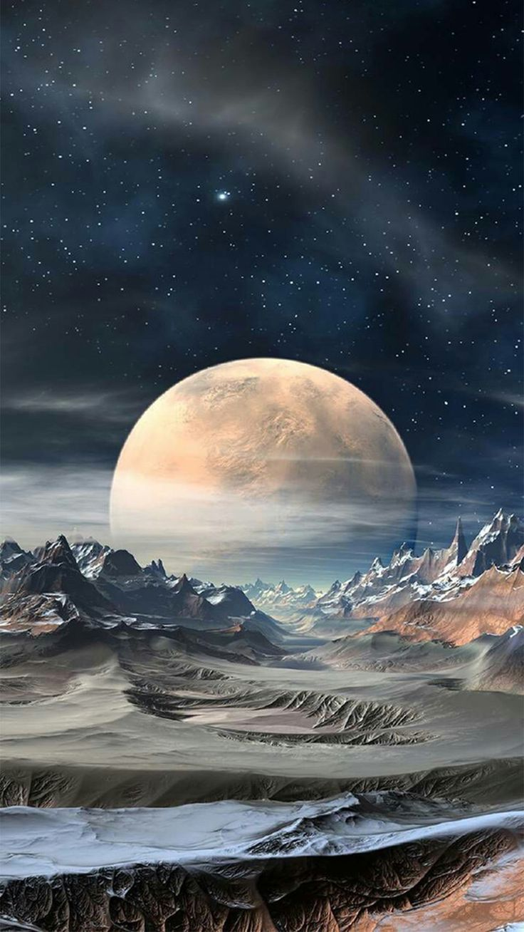 Nature Super Moon Planet Rocky Landscape #iPhone #6 #wallpaper