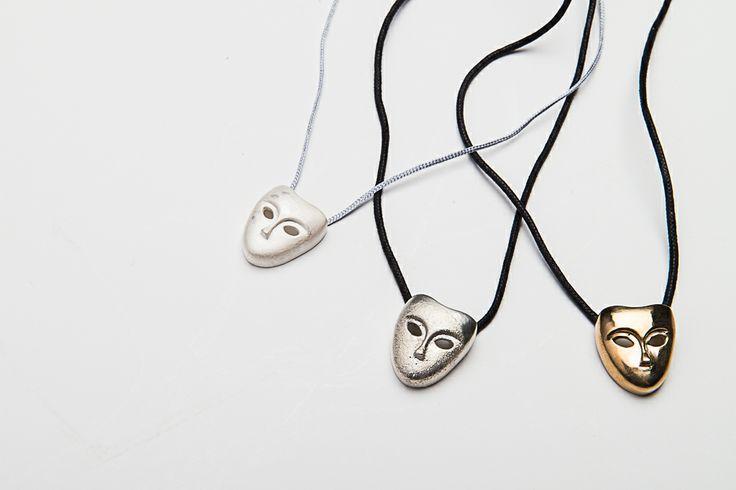#collier #masque #argent #bronze