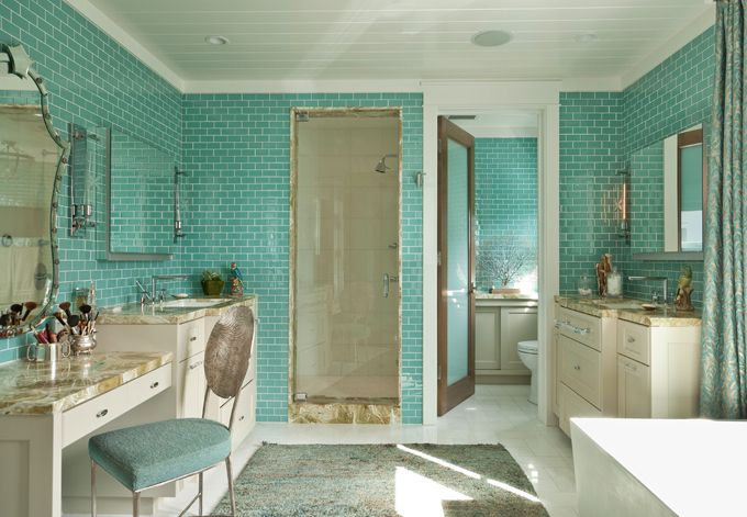 bathroom with turquoise subway tile | Anne Michaelsen Design