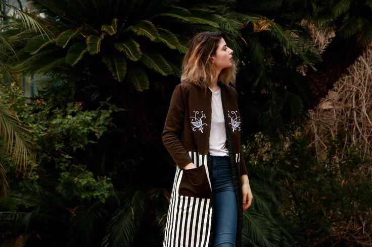 #jacket #coat #outwear #brown #stripes