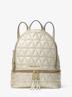9addc4d4a7aa MICHAEL Michael Kors Rhea Medium Metallic Quilted-Leather Backpack ...