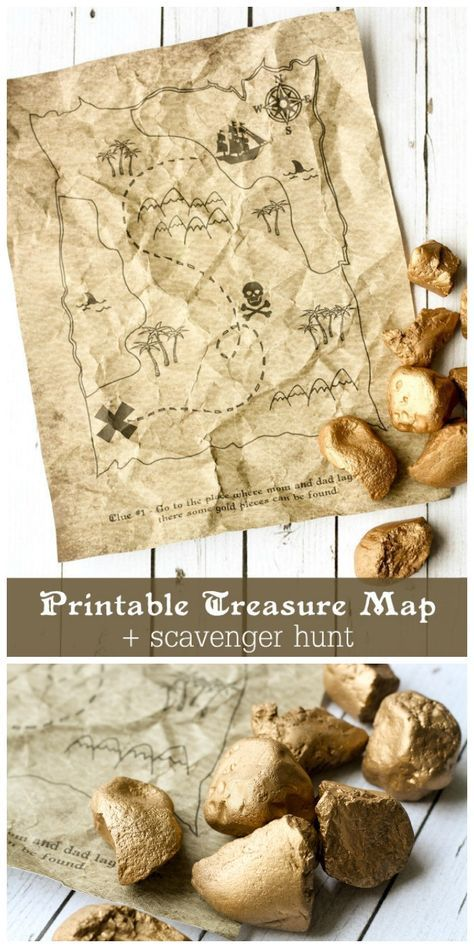 "Give your kids a treasure map for a fun scavenger hunt activity. Love this free printable and the ""gold"" rocks!"