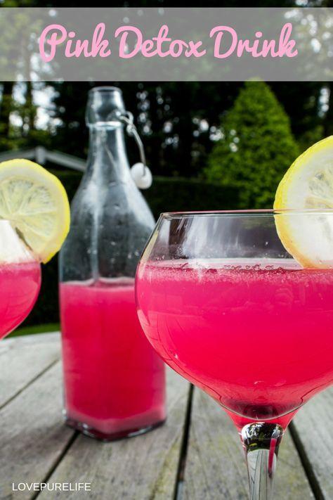 Pink detox drink met granaatappel, citroen & gember