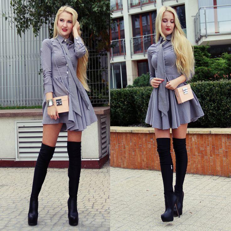 Jesień w pełni, tak więc czas na kozaki za kolano i rozkloszowaną sukienkę polskiej firmy by o la la! Sukienka by o la la!, torebka – Zara, buty – otchłań Allegro Pozdrowienia z Krakowa! Malvaloca Podobne