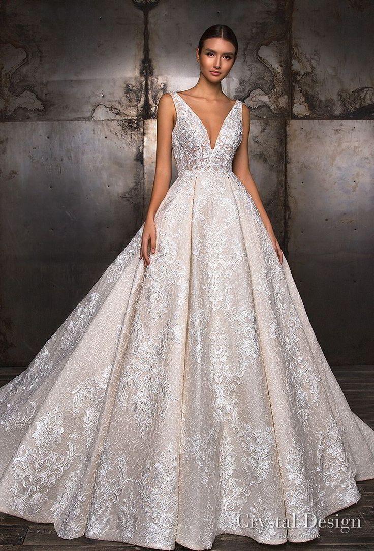 crystal design 2018 sleeveless deep v neck full embellishment princess ball gown a  line wedding dress v back royal train (taffi) mv -- Crystal Design 2018 Wedding Dresses