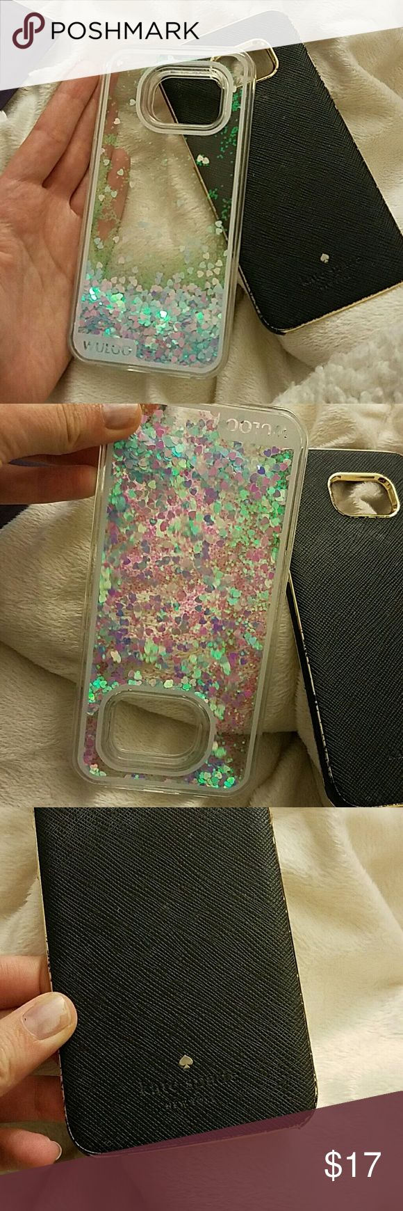 Glitter & Kate Spade samsung s7 edge cases Glitter case used for a week Kate spade case gold missing and her logo fell off. Otherwise good condition kate spade Accessories Phone Cases