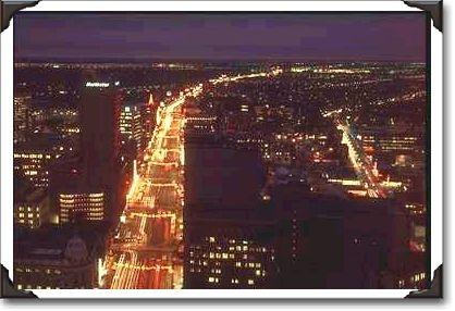 Winnipeg, Manitoba.  Traffic at night.
