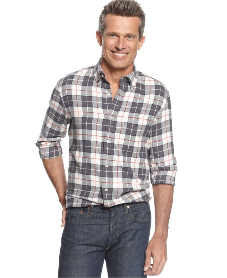 John Ashford Shirt Long Sleeve Plaid Flannel Casual On Down Shirts