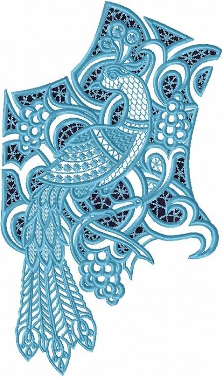Advanced Embroidery Designs - Cutwork Lace Peacock Yoke
