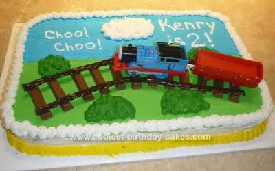 Homemade Thomas the Train Birthday Cake: I made this Thomas the Train birthday cake for my Thomas obsessed son's 2nd birthday. The cake is made of a boxed mix. I got the idea from a couple of