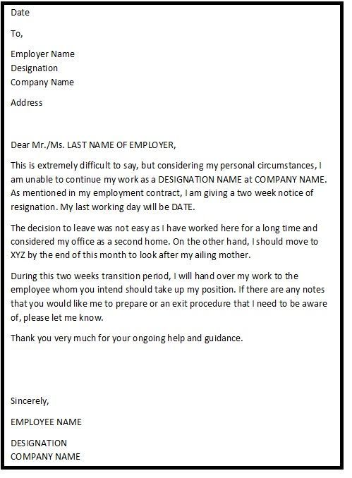 Pin by Template on Template | Employee resignation letter